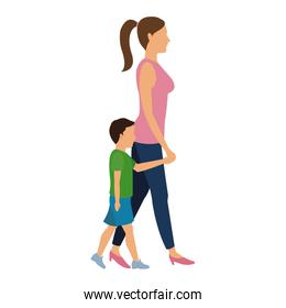 mother and her son walking together