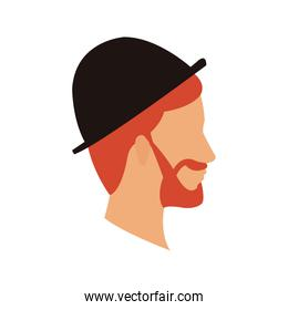 bearded head man profile with hat