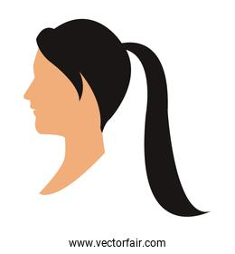 profile head woman with ponytail black hair