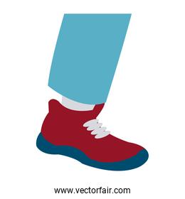 foot male with red shoe design