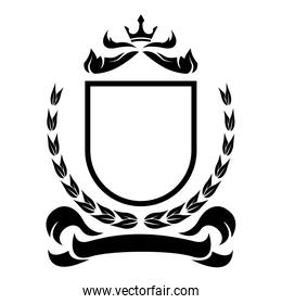shield with crown ribbon heraldry victorian and  elegant frame