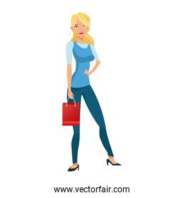 beauty woman standing red gift bag shopping concept