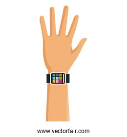 hand man with smart watch technology