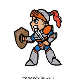 knight character with armor sword shield