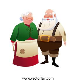 cute couple mr and mrs santa claus traditional