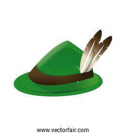 bavarian oktoberfest style hat with a feather