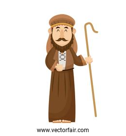 joseph manger character with cane wooden