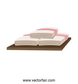 spa towels on wooden. relax day spa hygiene