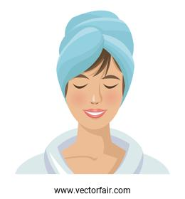 woman with towel on head. spa treatment