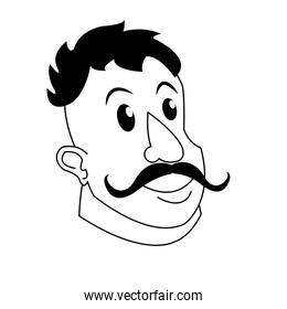 strong man mustache circus character image
