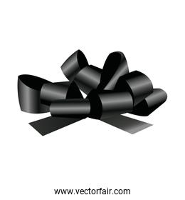 black bow and ribbons. decoration element for design vector illustration.