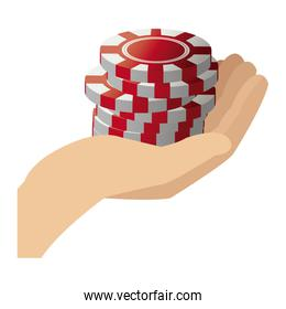 stack poker chips in hand gamble image