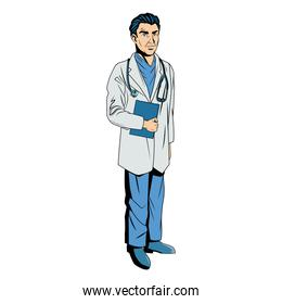 male doctor with lab coat in his office holding a clipboard