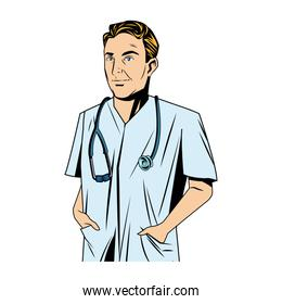 cheerful male doctor with stethoscope and hand in pockets