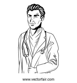 doctor man wearing coat and stethoscope medical