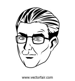portrait of a man, male professional face close-up vector illustration