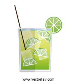 alcohol drink and cocktail glass with lime for menu, vector illustration