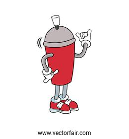 mascot featuring a canister of spray paint