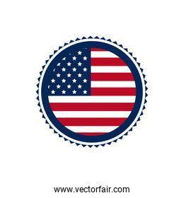 united state of america flag on button border decoration