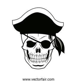 pirate skull wearing a pirate captains hat and an eye patch