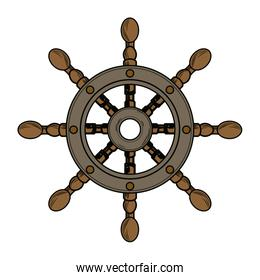 cartoon pirate in a ship steering wheel design