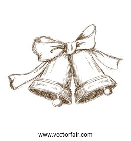 christmas bells with bow. vintage engraving
