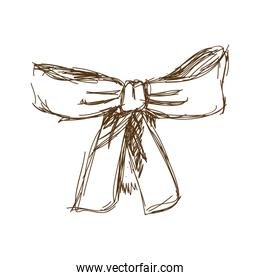 bow ribbon gift in a vintage woodcut engraved style