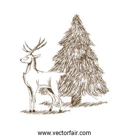 christmas deer and tree engraving style, vintage hand drawn