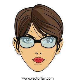beauty face woman with glasses and short hair comic style