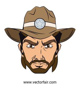 cowboy man cartoon character, modern western cattle hurdlers in traditional cowboy outfit.