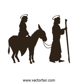 silhouette joseph and virgin mary riding donkey holy image