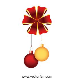 christmas balls red and golden bow hang decoration