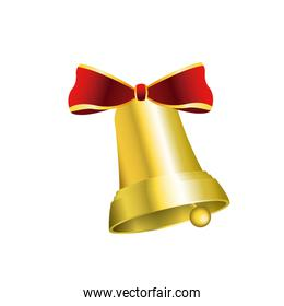 gold bell with red bow decoration christmas