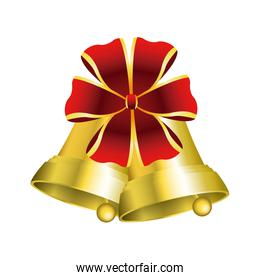 christmas bells with decorations golden ribbon