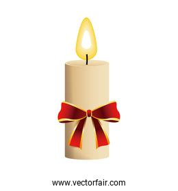 christmas candle with red bow flame icon