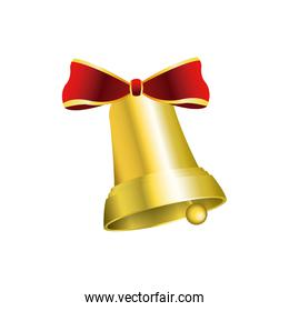 christmas bells decorated with red bow vector illustration