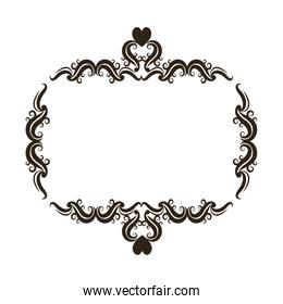 floral romantic heart ornament scrolls, frame element