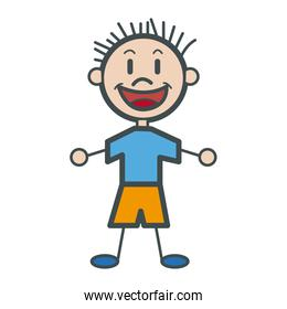 character happy boy kid outline
