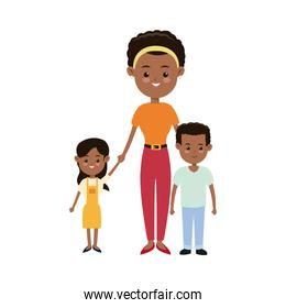 afro american mother together children smiling