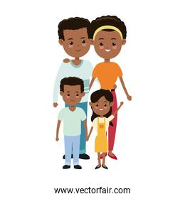 afro american couple parents with childrens family