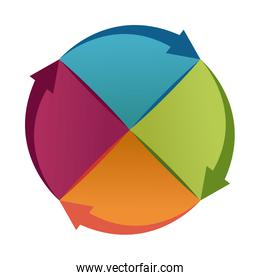 abstract round color piece object with arrows business concept