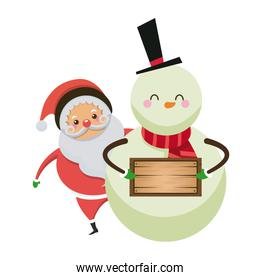 christmas santa claus with snowman together with wooden board