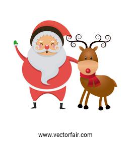 cute santa claus with reindeer isolated icon