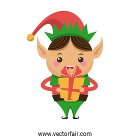 happy merry christmas elf holding gift character