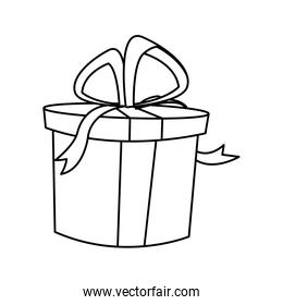 party gift box with ribbon and bow.
