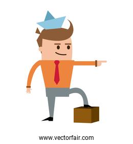 successful manager businessman. man stand on a cardboard box target.