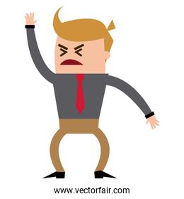 cartoon man business office worker angry.