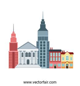city buildings and skyscrapers of urban skyline business apartment commercial