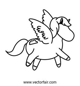 beautiful horse pony wings foal toy vector illustration