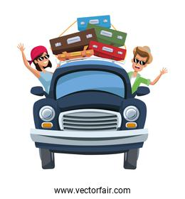 cartoon character travelers with vintage car with luggage on top